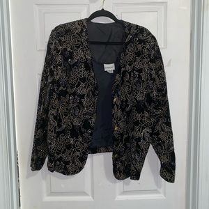 Shimmer rose print blazer